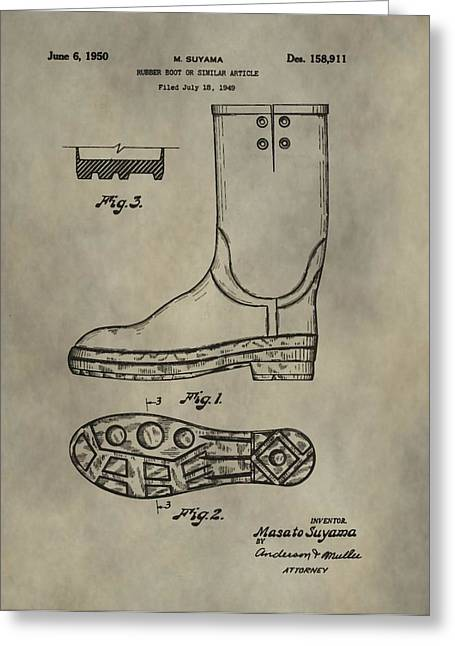 Rubber Boot Greeting Cards - Rubber Boots Patent Greeting Card by Dan Sproul