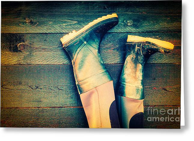 Rubber Boot Greeting Cards - Rubber boots Greeting Card by Silvia Ganora