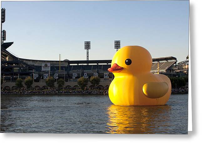 Sesame Street Greeting Cards - Rubber Duckie Invades Pittsburgh Greeting Card by J Fotoman