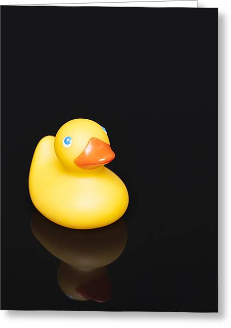 Rubber Duckie Reflection Greeting Card by Erin Cadigan
