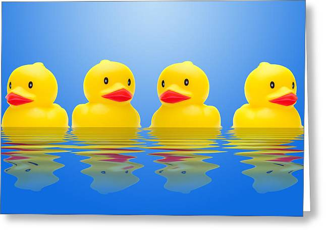 Norman Pogson Greeting Cards - Rubber Ducks Greeting Card by Norman Pogson
