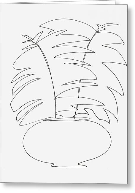 Potted Plants Drawings Greeting Cards - Rubber Plant Greeting Card by Rob Prince