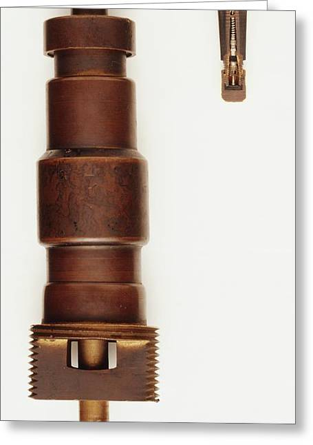 Rubber Snap In Valve And A Valve Core Greeting Card by Dorling Kindersley/uig