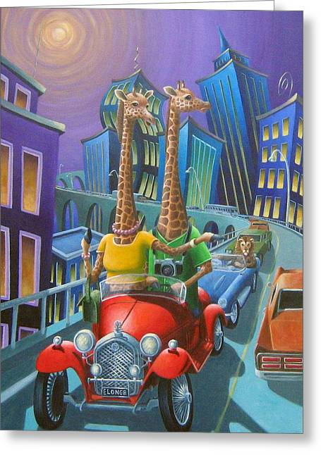 Roadway Paintings Greeting Cards - Rubberneckers Greeting Card by Eva Folks