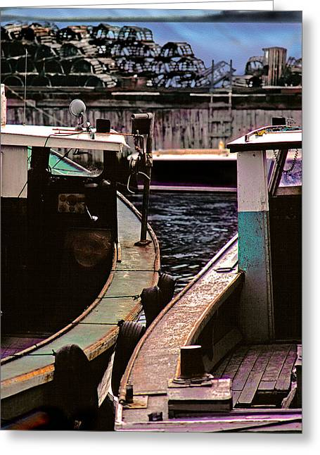 Boats At Dock Greeting Cards - Rubbing Shoulders Greeting Card by Mike Flynn