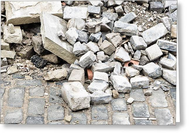 Debris Greeting Cards - Rubble Greeting Card by Tom Gowanlock