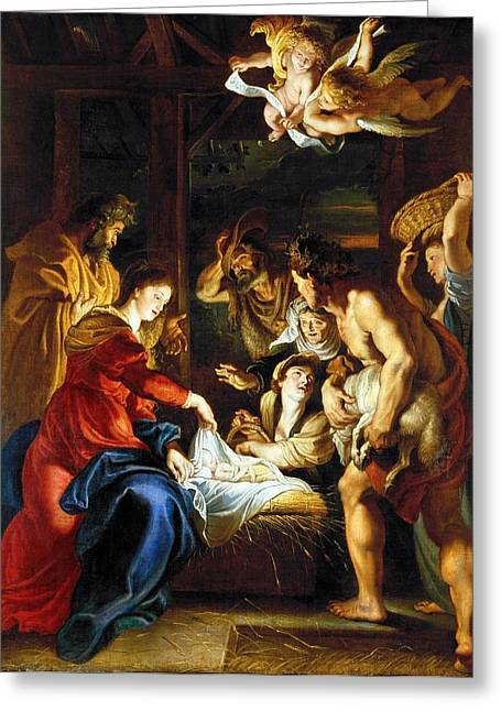 Virgin Greeting Cards - Rubens Adoration Greeting Card by Granger