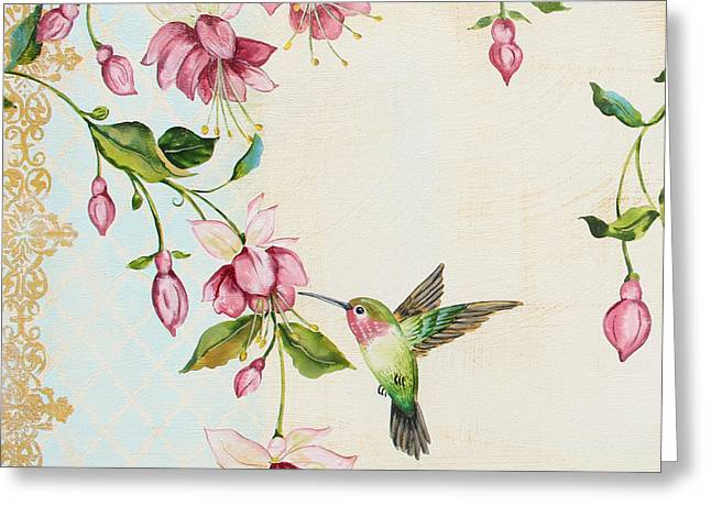 Ruby Throated Hummingbird Wall Art Greeting Cards - Rubies Among the Fuchsias-A Greeting Card by Jean Plout