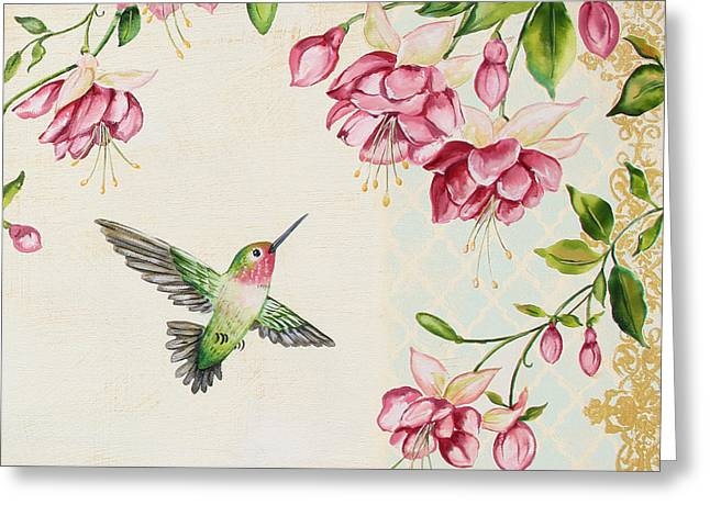 Ruby Throated Hummingbird Wall Art Greeting Cards - Rubies Among the Fuchsias-B Greeting Card by Jean Plout