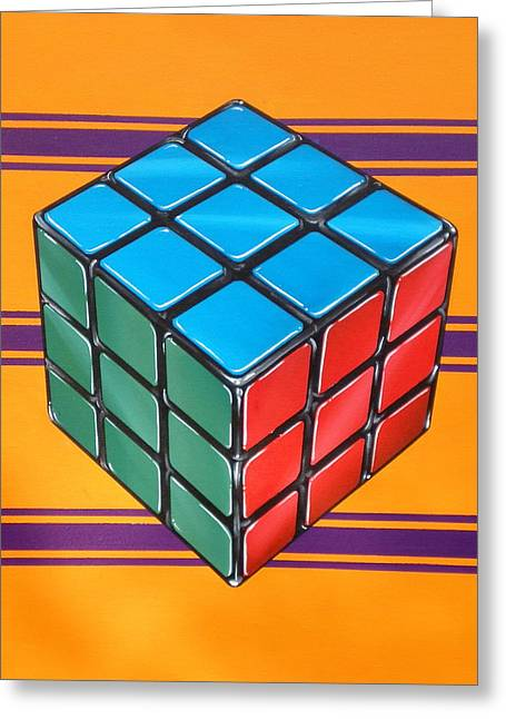 Photorealistic Greeting Cards - Rubiks Greeting Card by Anthony Mezza