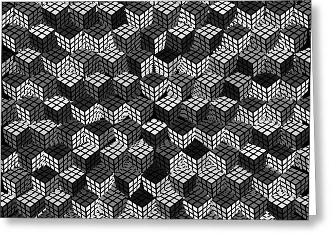 Puzzle Mixed Media Greeting Cards - Rubiks Cube Abstract Black and White Greeting Card by Tony Rubino