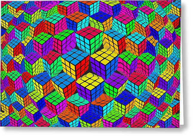 Puzzle Mixed Media Greeting Cards - Rubiks Cube Abstract Perspective Greeting Card by Tony Rubino