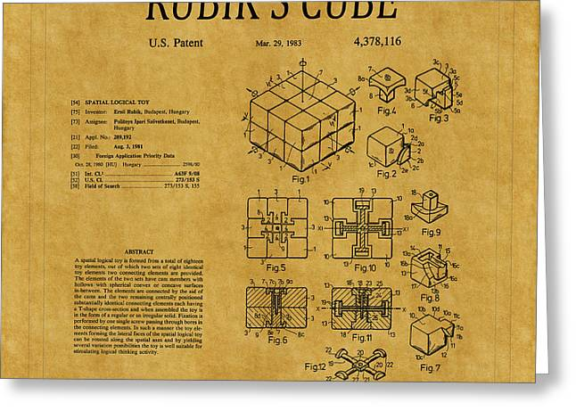 Rubiks Cube Greeting Cards - Rubiks Cube Patent 1 Greeting Card by Andrew Fare