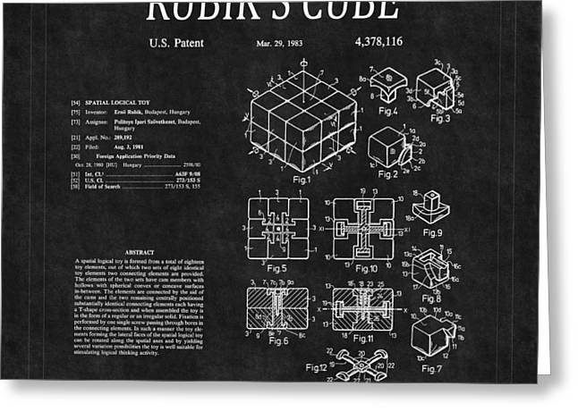 Rubiks Cube Greeting Cards - Rubiks Cube Patent 2 Greeting Card by Andrew Fare
