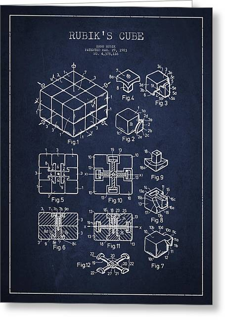 Chopper Greeting Cards - Rubiks Cube Patent Greeting Card by Aged Pixel