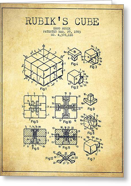 Rubiks Cube Greeting Cards - Rubiks Cube Patent from 1983 - Vintage Greeting Card by Aged Pixel