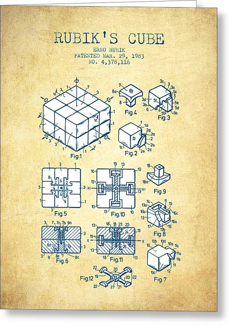 Rubiks Cube Greeting Cards - Rubiks Cube Patent from 1983 - Vintage Paper Greeting Card by Aged Pixel