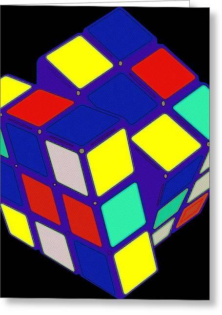 Rubiks Cube Greeting Cards - Rubiks Cube Pop Art Greeting Card by Florian Rodarte