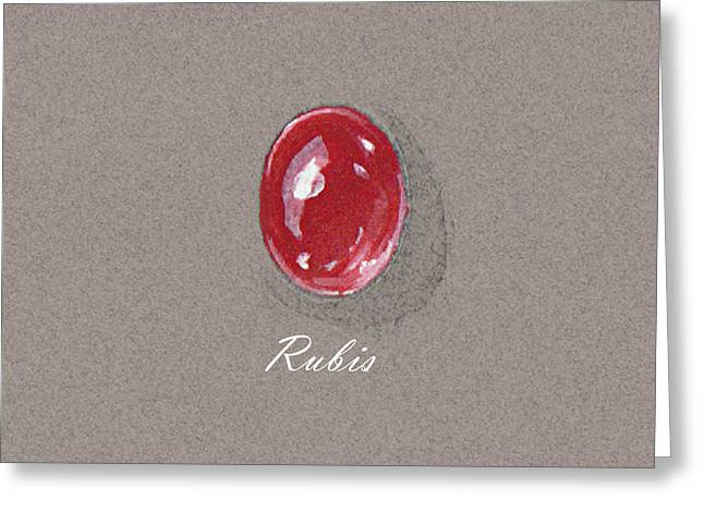 Carat Paintings Greeting Cards - Rubis cabochon Greeting Card by Marie Esther NC