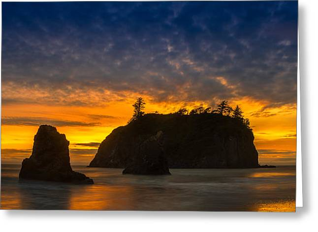 Pacific Ocean Sunset Greeting Cards - Ruby Beach Olympic National Park Greeting Card by Steve Gadomski