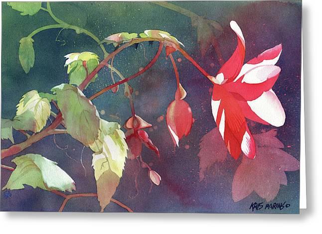 Begonia Garden Greeting Cards - Ruby Begonia Greeting Card by Kris Parins