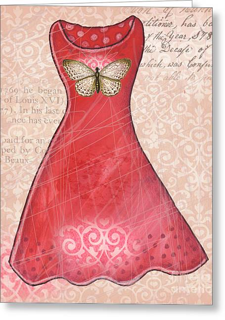 Powder Mixed Media Greeting Cards - Ruby dress Greeting Card by Elaine Jackson