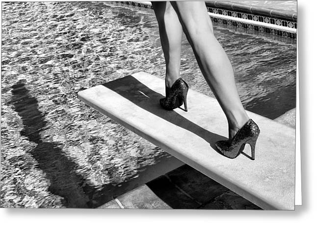 Fashion Week Greeting Cards - RUBY HEELS BW Palm Springs Greeting Card by William Dey