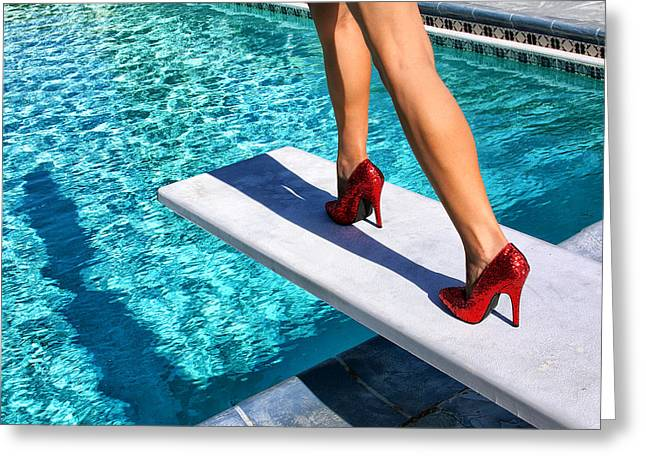 Red Shoe Greeting Cards - RUBY HEELS Ready for take-off Palm Springs Greeting Card by William Dey
