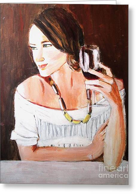 Wine Sipping Paintings Greeting Cards - Ruby Greeting Card by Judy Kay