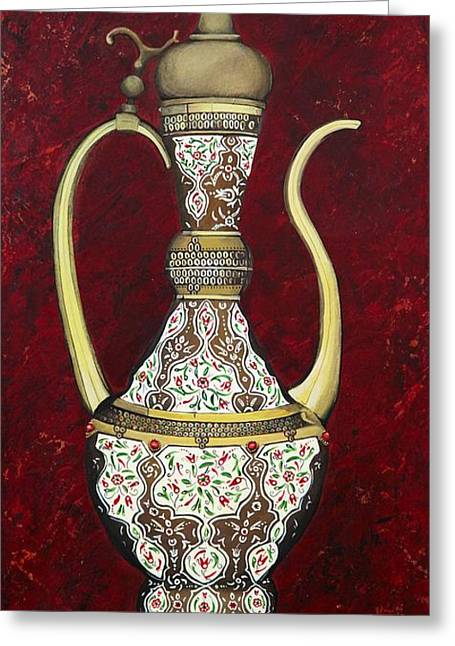 Ewer Paintings Greeting Cards - Ruby Ottoman Ewer Greeting Card by Carol Bostan