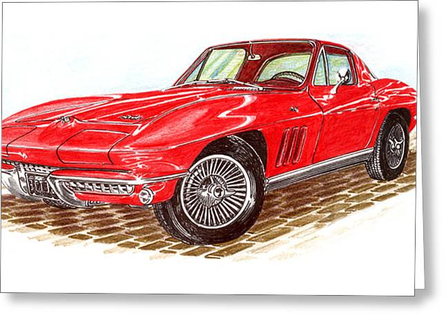 Stretching Drawings Greeting Cards - Ruby Red 1966 Corvette Stingray Fastback Greeting Card by Jack Pumphrey