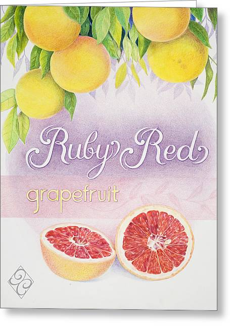 Grapefruit Drawings Greeting Cards - Ruby Red Greeting Card by Joan Chamberlain