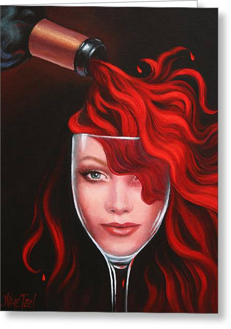 Recently Sold -  - Women Tasting Wine Greeting Cards - Ruby Red Greeting Card by Sandi Whetzel