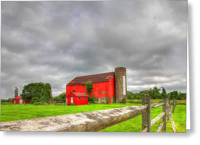 Barn Digital Art Greeting Cards - Ruby Red Greeting Card by Sharon Batdorf