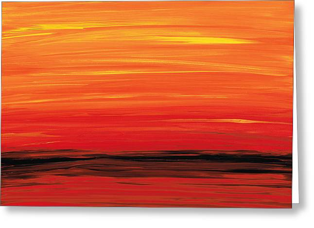 Red Abstracts Greeting Cards - Ruby Shore - Red And Orange Abstract Greeting Card by Sharon Cummings