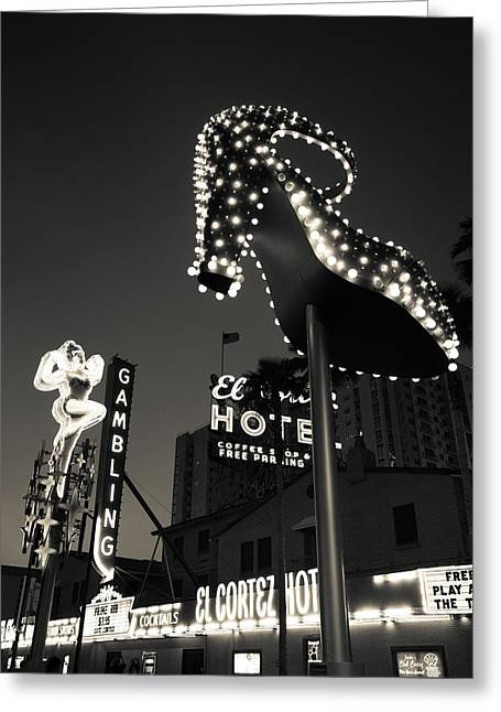 Fremont Street Greeting Cards - Ruby Slipper Neon Sign Lit Up At Dusk Greeting Card by Panoramic Images