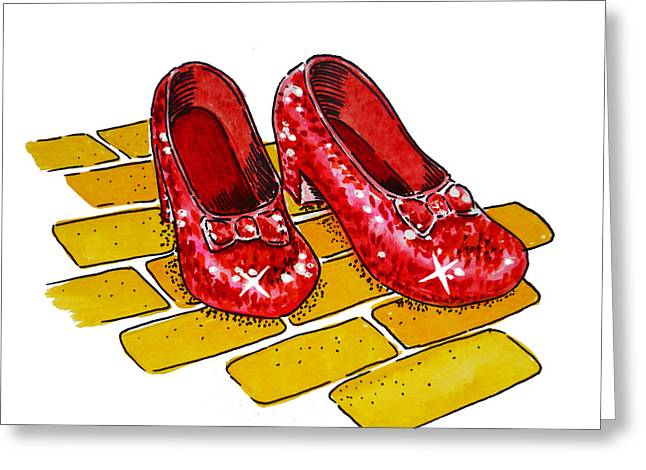 Wall Art Paintings Greeting Cards - Ruby Slippers The Wizard Of Oz  Greeting Card by Irina Sztukowski