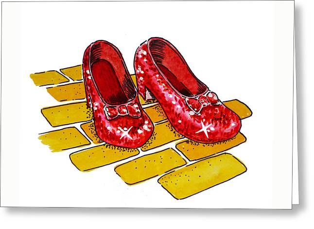 Art For Children Greeting Cards - Ruby Slippers The Wizard Of Oz  Greeting Card by Irina Sztukowski