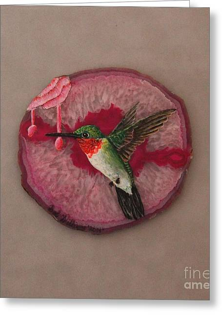 Photos Of Birds Mixed Media Greeting Cards - Ruby Throated Hummer Greeting Card by Bob Williams