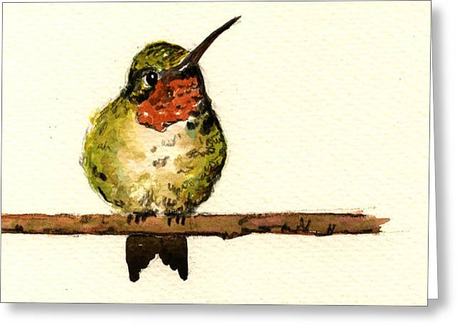 Ruby Greeting Cards - Ruby throated hummingbird  Greeting Card by Juan  Bosco