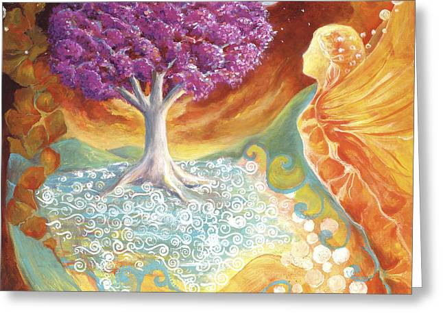 Inner World Paintings Greeting Cards - Ruby Tree Spirit Greeting Card by Valerie Graniou-Cook
