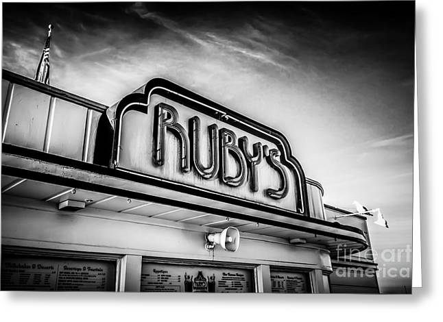 Diner Photographs Greeting Cards - Rubys Diner Newport Beach Black and White Picture Greeting Card by Paul Velgos