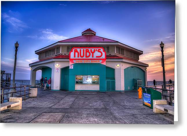 Ruby's Diner On The Pier Greeting Card by Spencer McDonald
