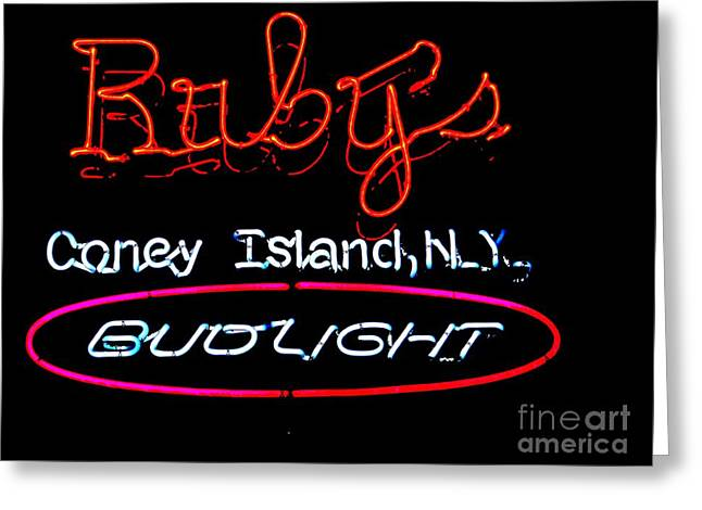 Budlight Greeting Cards - Rubys On The Boardwalk Greeting Card by Ed Weidman