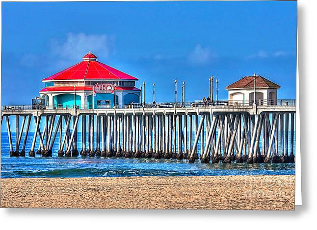 Ruby Greeting Cards - Rubys Surf City Diner - Huntington Beach Pier Greeting Card by Jim Carrell