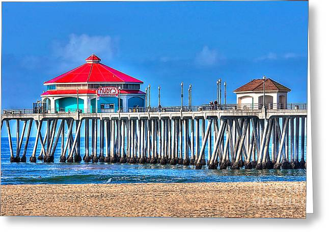 Ruby's Surf City Diner - Huntington Beach Pier Greeting Card by Jim Carrell