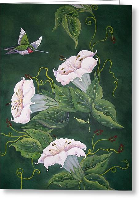 Hummingbird And Lilies Greeting Card by Sharon Duguay