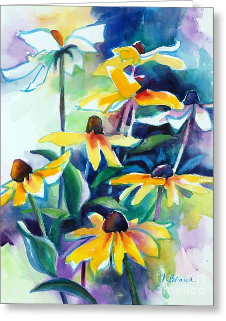 Green And Yellow Abstract Greeting Cards - Rudbecki and Teal Greeting Card by Kathy Braud