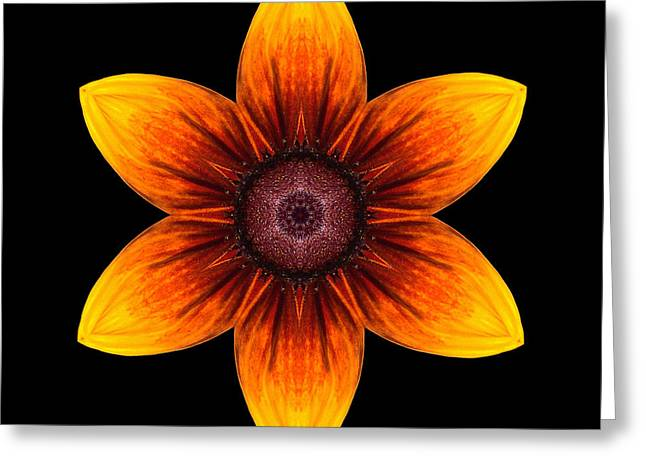 Rudbeckia I Flower Mandala Greeting Card by David J Bookbinder