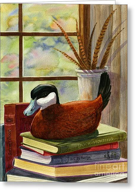 Stacks Of Books Greeting Cards - Ruddy Duck Decoy Greeting Card by Marilyn Smith